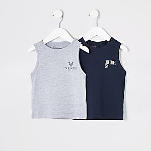 Mini - Marineblauwe hemden voor jongens set van 2