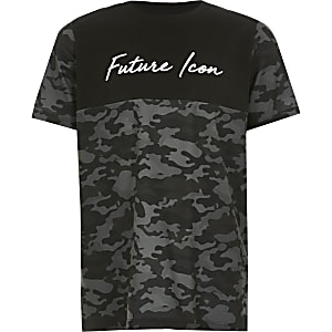 Zwart T-shirt met kleurvlakken, camouflageprint en 'Future icon'-tekst voor jongens