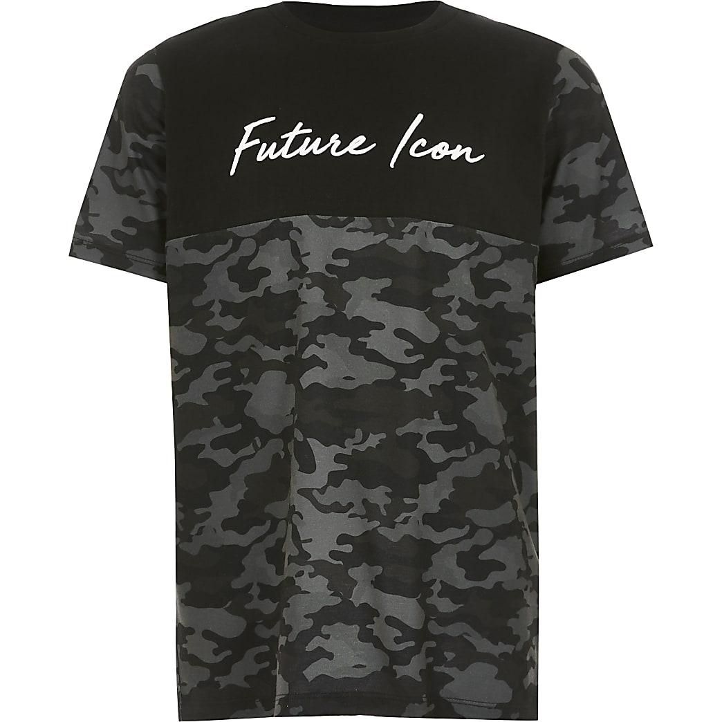 Boys black camo blocked 'Dude' T-shirt