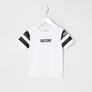 Mini - Wit T-shirt met kleurvlakken en 'Awesome'-tekst voor jongens