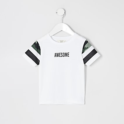 Mini boys white blocked 'Awesome' T-shirt