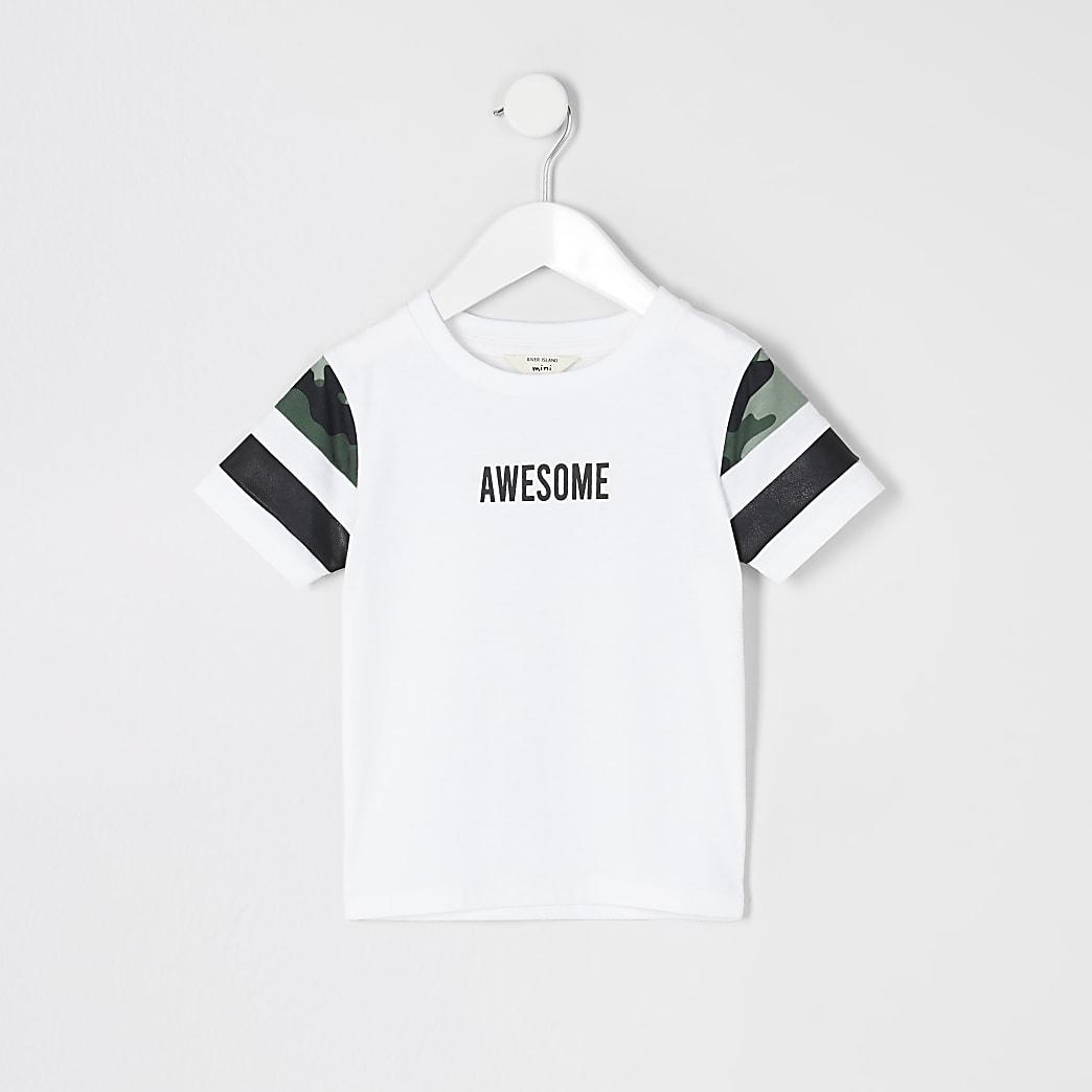 Mini boys white blocked 'Awesome' T-shirt