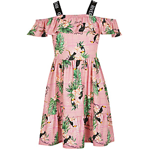 Girls pink printed frill bardot skater dress