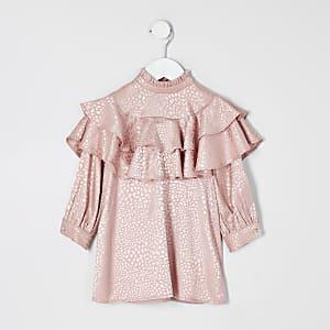 Mini -Roze jacquard A-lijnjurk met ruches voor meisjes