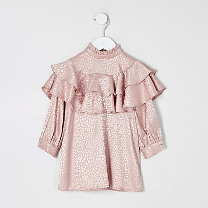 Mini girls pink jacquard frill trapeze dress