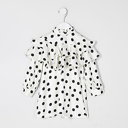 Mini girls ecru polka dot trapeze dress
