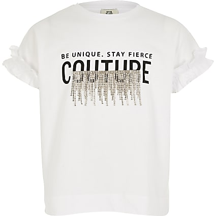 Girls white 'Couture' diamante tassel T-shirt