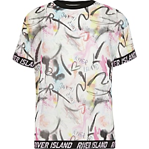 RI Active - Roze mesh T-shirt met print voor meisjes