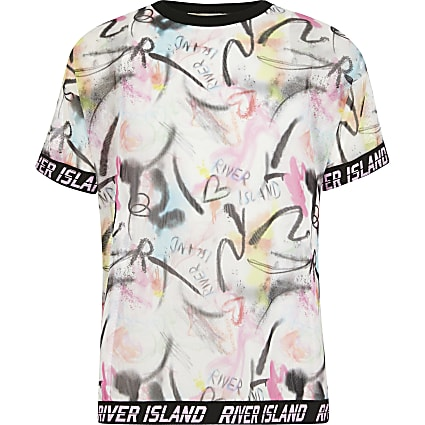 Girls RI Active pink printed mesh T-shirt