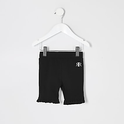 Mini girls black frill cycling shorts