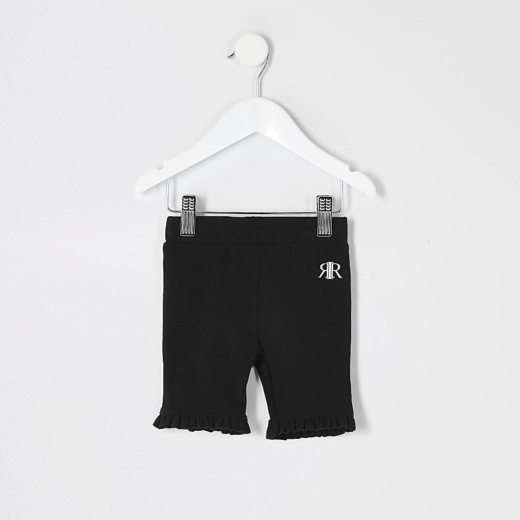 Mini girls black frill cycling shorts