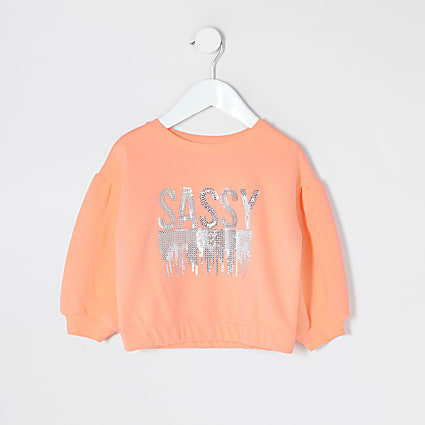 Mini girls neon coral 'Sassy' sweatshirt