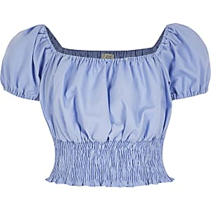 Blauwe crop top met pofmouwen voor meisjes