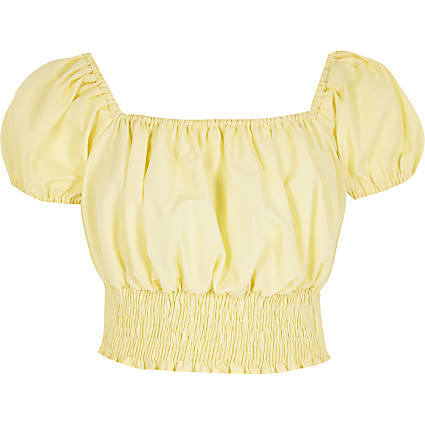 Girls yellow puff sleeve shirred crop top