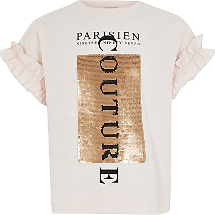Girls pink sequin frill sleeve T-shirt