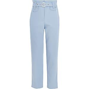 Blauwe broek van keperstof met ceintuur voor meisjes
