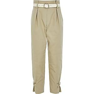 Pantalon taille haute ceinturée beige pour fille