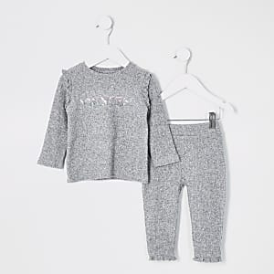 """Princess""-Outfit mit geripptem T-ShirtinGrau"