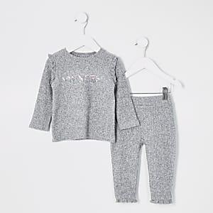 Mini - Grijs geribbeld T-shirt outfit met 'Princess'-tekst voor meisjes