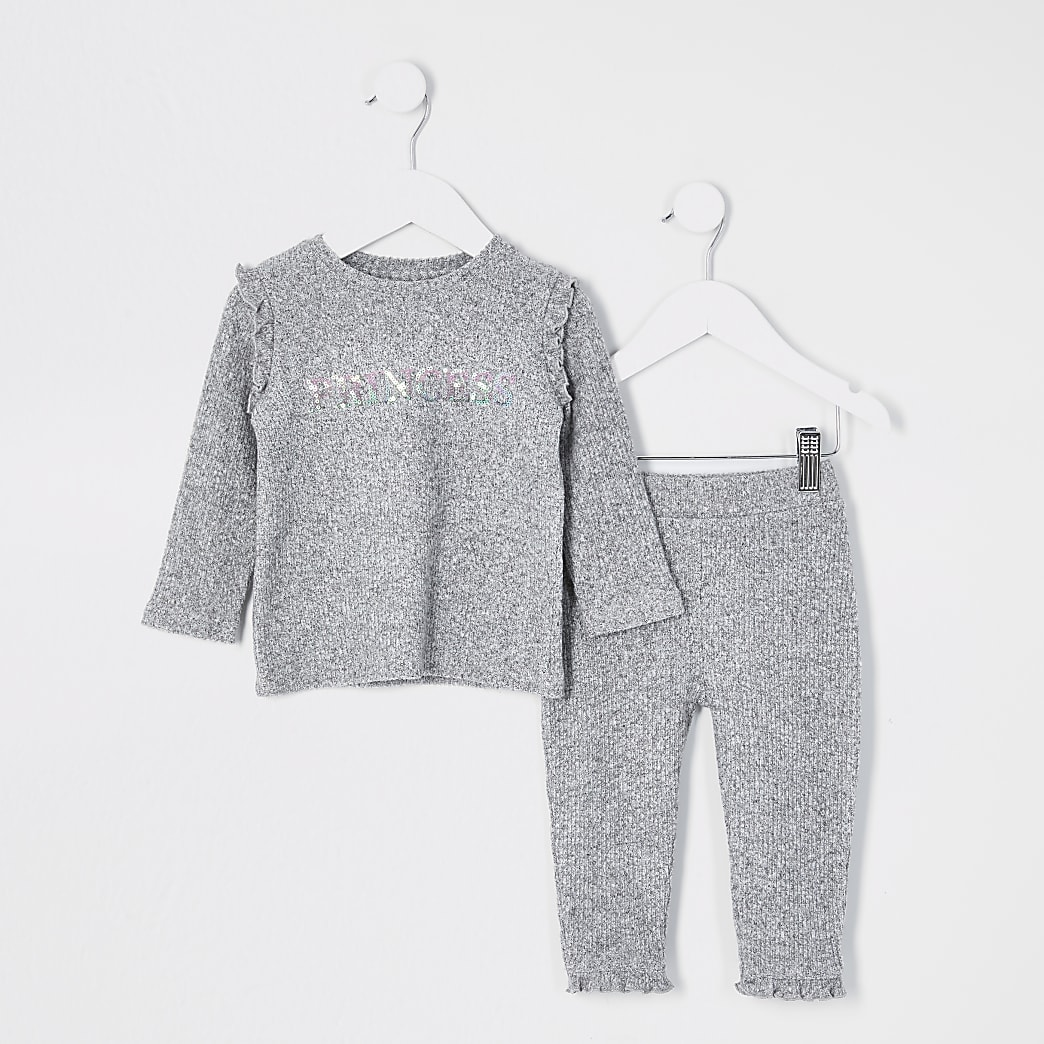 Mini girls grey 'Princess' rib T-shirt outfit