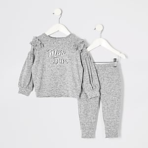 Tenue avec sweat gris imprimé à volants Mini fille