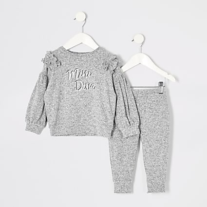 Mini girls grey print frill sweatshirt outfit