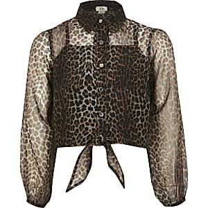Braunes Organza-Hemd mit Leoparden-Print für Mädchen