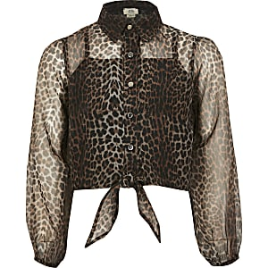 Bruin organza overhemd met luipaardprint voor meisjes