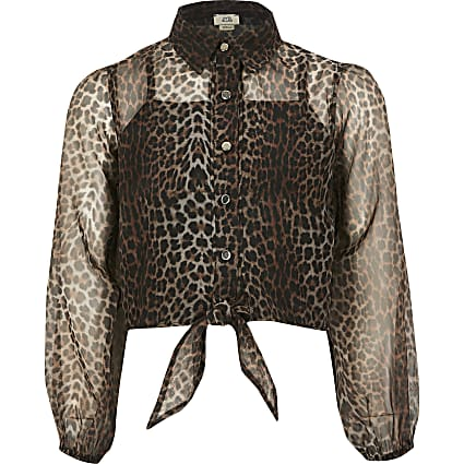Girls brown leopard print organza shirt