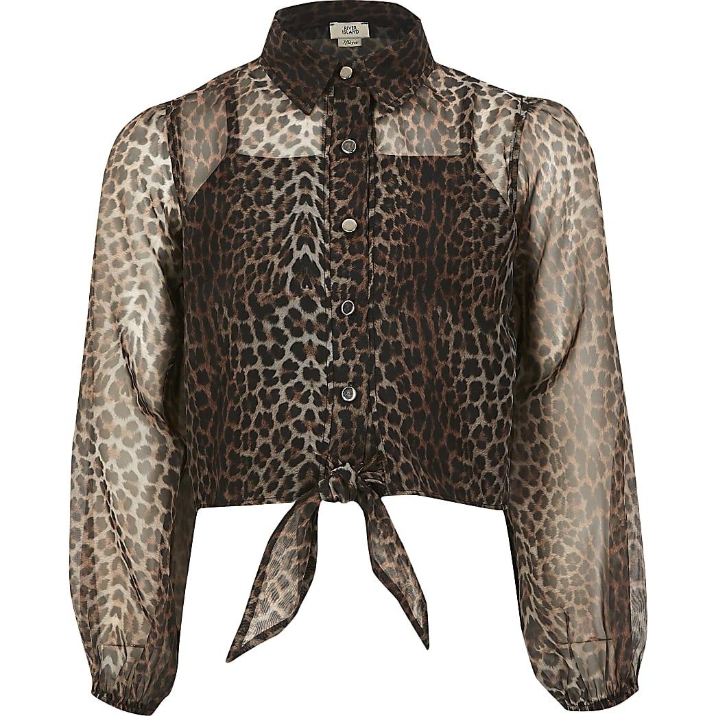Girls brown leopard print organza shirt