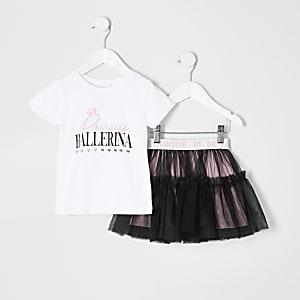 Mini – Weißes Tutu-Outfit mit Aufdruck für Mädchen