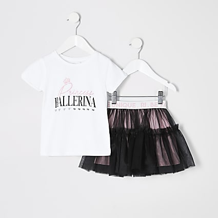 Mini girls white printed tutu outfit