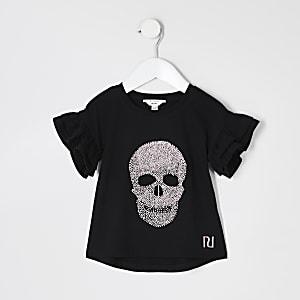 Mini - Zwart T-shirt met glitters in doodshoofdvorm voor meisjes