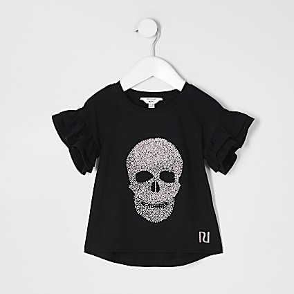 Mini girls black glitter skull T-shirt