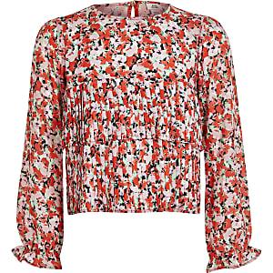 Roze geplooide blouse met ruches en bloemenprint voor meisjes