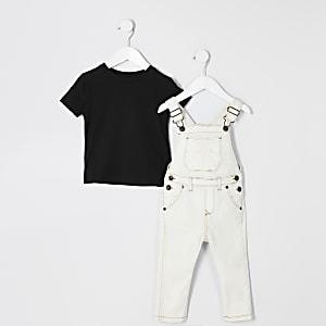 Mini – RVR-Arbeitshosen-Outfit in Ecru für Jungen