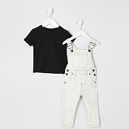 Mini boys ecru RVR dungaree outfit