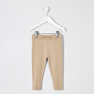 Mini - Beige leggings van ponte-stof voor meisjes
