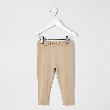 Mini girls beige snaffle ponte leggings