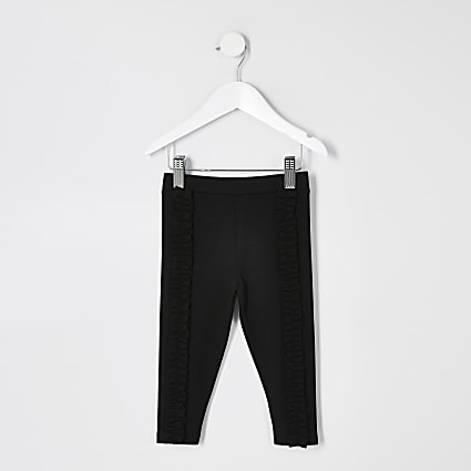 Mini girls black frill ponte leggings