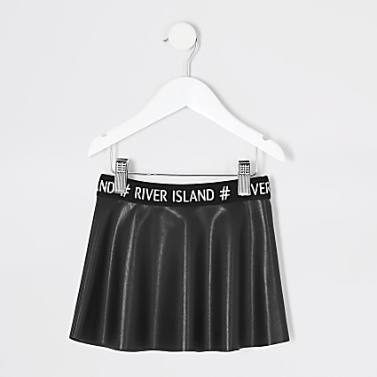 Mini girls black faux leather skater skirt