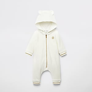 Baby cream velour bear all in one