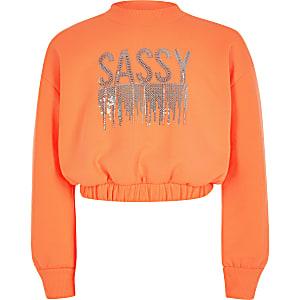 Girls neon orange 'Sassy' sweatshirt