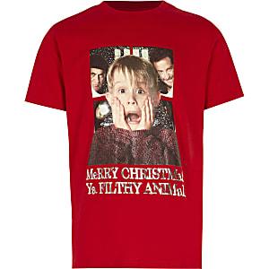 Rood Kerstmis T-shirt met 'Home Alone'-print voor jongens