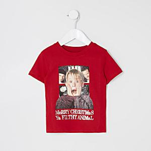 Mini - Rood Home Alone Kerst T-shirt voor jongens