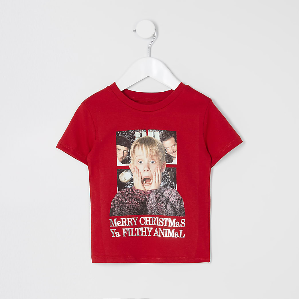 Mini boys red Home Alone Christmas T-shirt