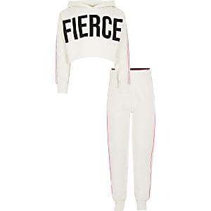Witte cropped hoodie outfit met 'Fierce'-tekst voor meisjes