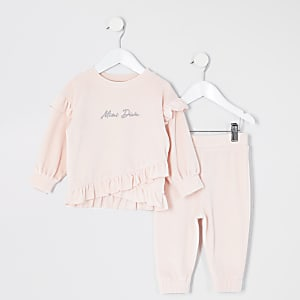 Tenue avec sweat en velours rose Mini fille