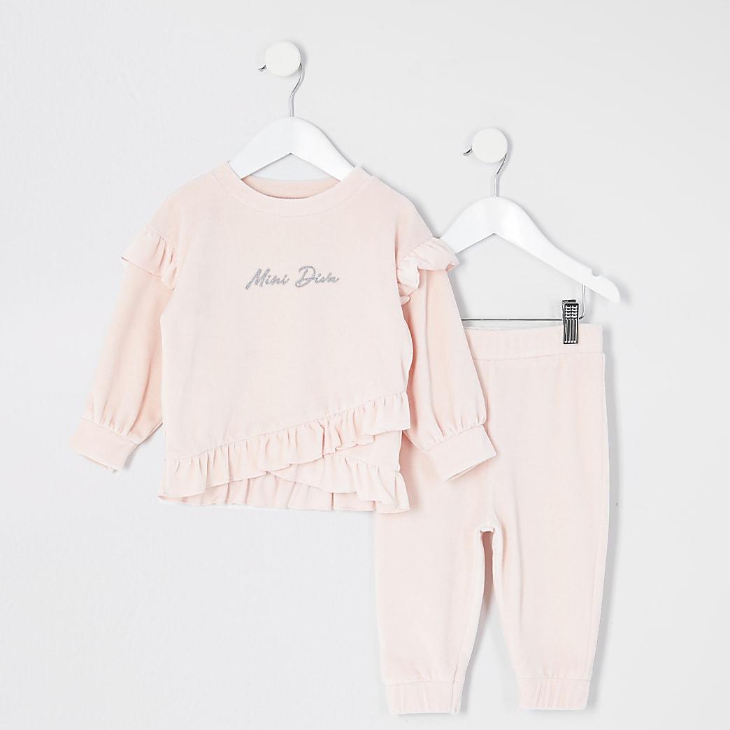 Mini girls pink velour sweatshirt outfit