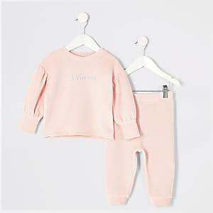 Mini – Sweatshirt-Outfit aus Velourscord in Rosa für Mädchen